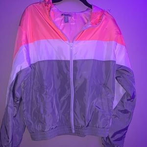 pink, white, and grey forever 21 wind breaker